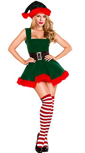 Swing Dance Halloween Costume (Kimring Women's Mrs Santa Claus Suit Christmas Elf Costume Outfit Velvet Dress with Stockings and Hat Green one-size)