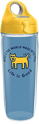 Life Is Good Water Bottle - Tervis 1285473 Life is Good - Wags with You Tumbler with Wrap and Yellow Lid 24oz Water Bottle, Clear