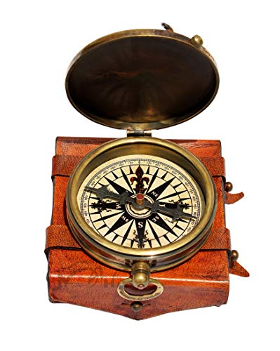 MAH ''Robert Frost Poem'' Engraved Antiquated Finish Brass Compass with Case. C-3241