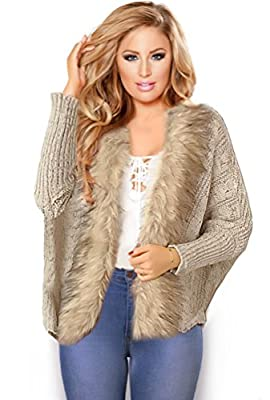 Winter Cardigan Jacket For Women Faux Fur Knit Shawl Warm Soft Furry Sexy