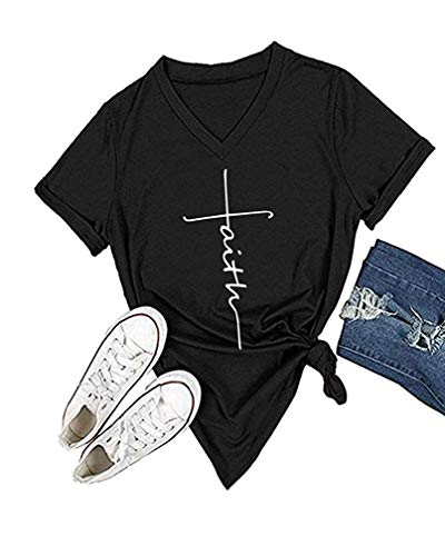 Qrupoad Women V-Neck Cross Faith T Shirt Short Sleeve Graphic Tees Christian Easter Shirts for Religious Gift