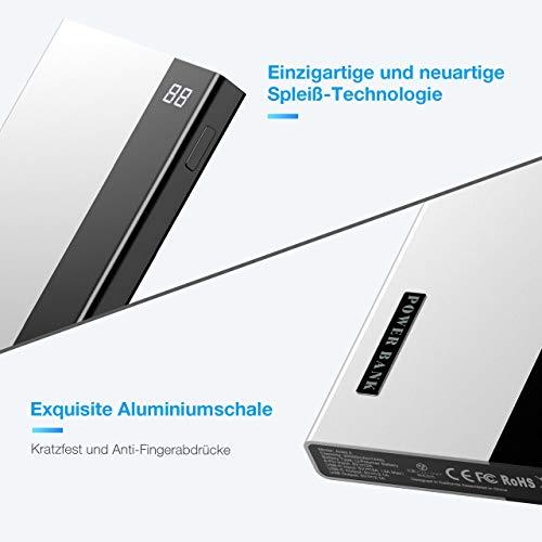 OMBAR 20000mAh Powerbank tragbares Externer Akku mit LED Digitalanzeige, USB-C Output, schnellladen für iPhone 12, iPhone X, Galaxy S 10, Huawei, iPad, Switch und mehr (silbrig)