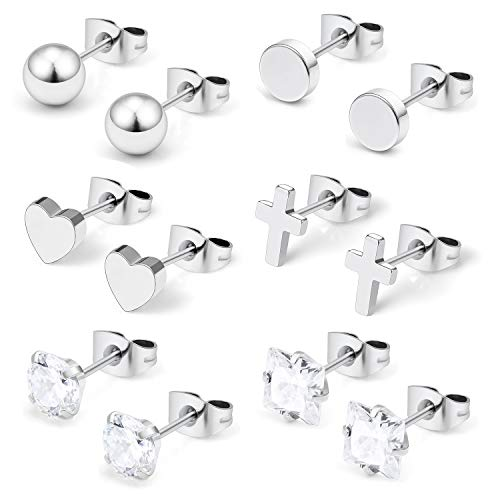 Hoeudjo Surgical Steel Mens Womens Heart Stud Earrings Clear Square & Round Cubic Zirconia Inlaid Cross Dangle Earrings Silver Tone 6 Pairs