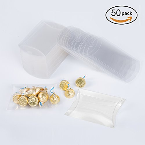 MOWO Clear Plastic Pillow Box 4x0.9x2.8 inch for Gift Candy Treat Transparent Packing Box Party Favors 50pc