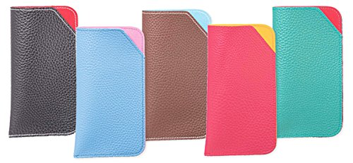 5 Pack Soft Slip In Eyeglass Case In Faux Leather for Men, Assorted Colors by LBI