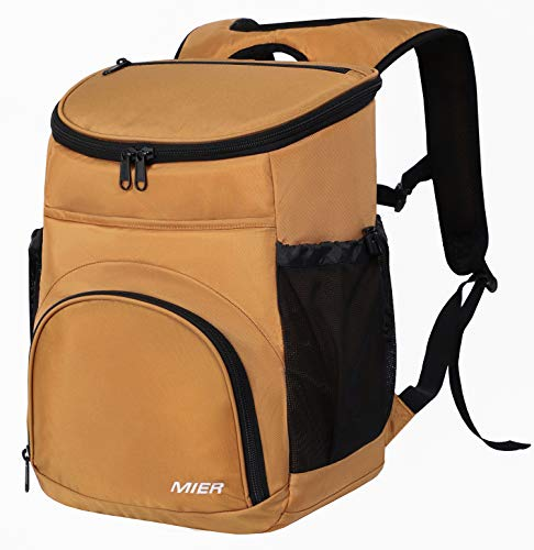 MIER Leakproof Backpack Cooler Insulated Lunch Backpack with iPad/Tablet Pocket for Men and Women to Work, Picnic, Hiking, Camping, Beach, Day Trips, 20Can, Dark Golden