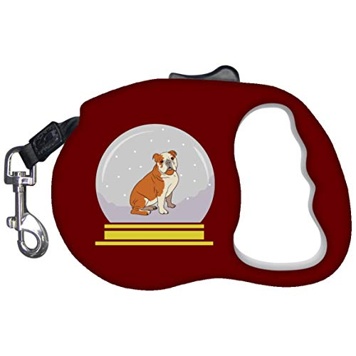 Weezag Snow Globe Bulldog Retractable Pet Dog Leash, Funny Gifts for Dog Lovers