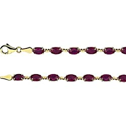 "Created Ruby 7"" Bracelet in 14k Yellow Gold"
