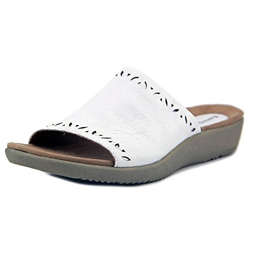 Earth Origins Valorie Open Toe Leather Slides Sandal White AMqXFQqzS