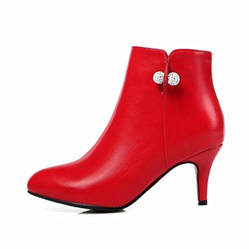 Latasa Kvinna Mode Pekade Tå Mid Häl Ankel-high Falla Klänning Tillfälliga Kängor Röd