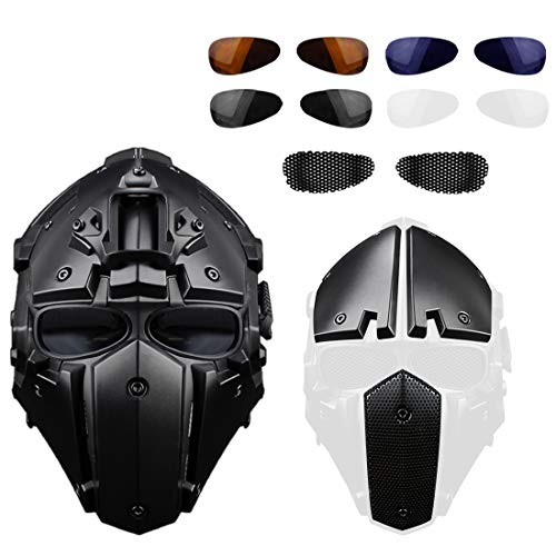 GODNECE Masque Combat Masque Tir Casque Tactique Militaire Casque Intégral Airsoft pour Airsoft Paintball Wargame CS 4