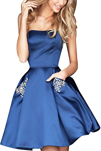 Weddder Beaded Strapless Prom Dresses Pockets Short Satin A Line Homecoming Party Gown Navy Blue Size 2 (Prom Short Dress Strapless)