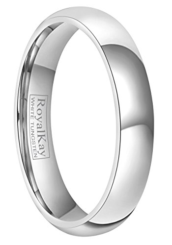 RoyalKay 2mm 4mm 6mm White Tungsten Wedding Band Ring Men Women Plain Dome High Polished Comfort Fit Size 3 to 17 (4mm,6.5)