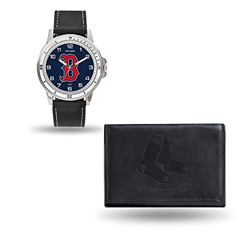 (Rico Industries MLB Boston Red Sox Men's Watch and Wallet Set, Black, 7.5 x 4.25 x 2.75-Inch)