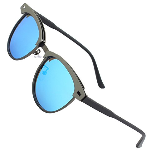 Premium Rivets Uv400 Mj56 Gun Cgid Bleu Demi Lunettes cerclées C Écailles De Soleil Homme Inspirées Femme Pour Demi Monture Métalliques Avec vfx7Sqg