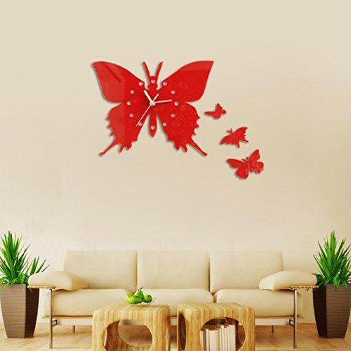 3D DIY Acrylic Mirror Round Pattern Wall Sticker Clock Home Decoration - 5