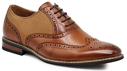 Wood10 Men's Colonial Spectator Two Tone Grand Wingtips Oxfords Perforated Lace Up Dress Shoes (8.5, Brown) -