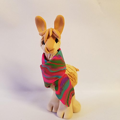 Llama CHRISTMAS ORNAMENT Alpaca Wrapped in Bright Colored Holiday Serape BUFF and TAN Hand Made Polymer Clay