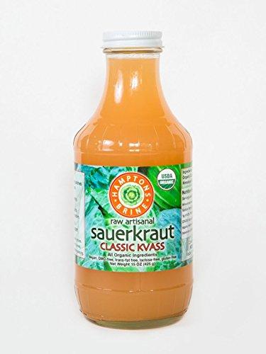 Sauerkraut Classic Kvass: raw fermented kraut juice, Certified Organic, unpasteurized, live probiotics, electrolytes, dairy and gluten-free