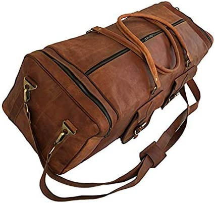 30 Inch Real Goat Vintage Leather Large Handmade Travel Luggage Bags in Square Big Large Brown bag Carry On 30 inch