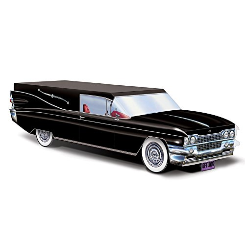 Club Pack of 12 Black Hearse Halloween Centerpiece Decorations -