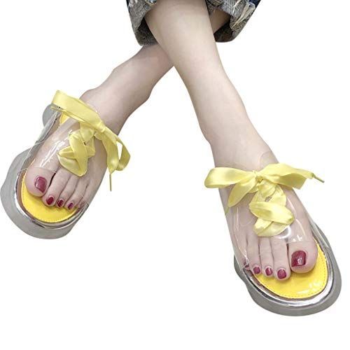 Clearance! Women's Fashion Transparent Slippers Solid Color Ribbon Slippers Casual Slip Summer Beach Platform/Wedge/High Heel Slippers for Girls Women Ladies Indoor Outdoor Under 10 Dollars