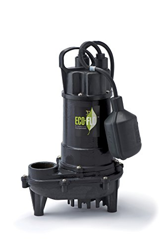 ECO-FLO Products ECD33W Cast Iron Sump Pump with Wide Angle Switch, 1/3 HP, 3,300 ()