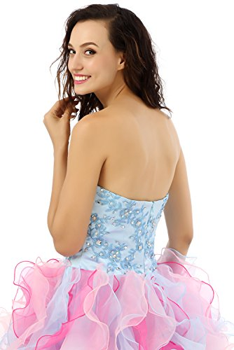 Quinceanera engerla Damen Cascade Blau Organza Stickerei Kleid Pink Ballkleid Pailletten Sweetheart q0qra