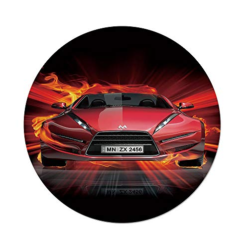 iPrint Polyester Round Tablecloth,Cars,Front View a Fire Car Speeding Hot Flames on Abstract Backdrop Concept Design Decorative,Red Orange Black,Dining Room Kitchen Picnic Table Cloth Cover Outdoor I