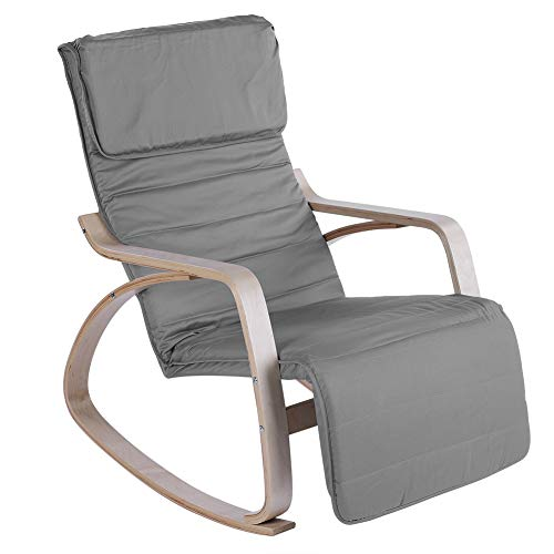 Relax Rocking Chair, Comfortable Adjustable Lounge Chair Recliners Modern Home Office Furniture (Dark Gray)