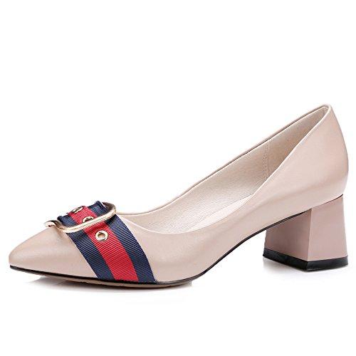 Nine Seven Cuero Moda Puntiagudos Zapatos de Tacón Grueso con Hebilla para Mujer Rosa