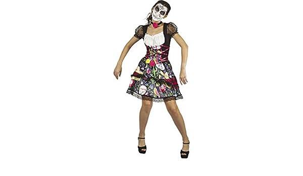 DISONIL Disfraz Adulto S Mujer Día de los Muertos: Amazon.es ...