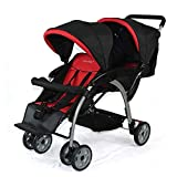 Moolo Double Strollers, Baby Pram Infant Tandem Buggy Newborn Pushchair with Adjustable Backrest Footrest Travel (Color : Red)