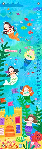 Mermaids Canvas Growth Chart - Oopsy Daisy Mermaid Performance Growth Chart, Mermaid Performance, Aqua