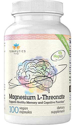 Magnesium L Threonate (Magtein) - 100 Vegan Capsules - 2,000 mg - Non-GMO UltraPure Highly Absorptive Magnesium Supplement - Supports Cognition, Memory, Sleep - Without Laxative Properties