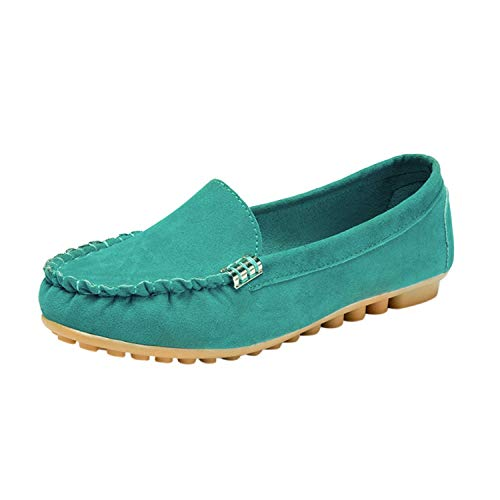 2019 Women's Pumps Shoes Comfy Ballet Shoes Soft Slip-On Casual Boat Shoes Loafers,Green,40,US