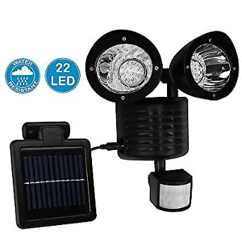 Solar Powered Motion Sensor Lights 22 LED Garage Outdoor Security Flood Spot