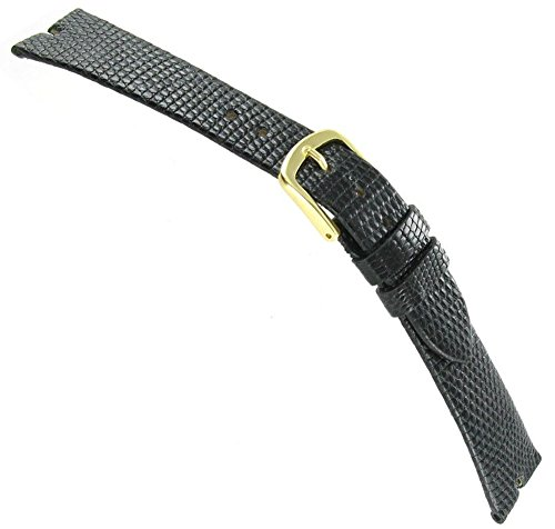 18mm Hadley-Roma Java Lizard Gucci Cut Black Unstitched Mens Watch Band - Gucci Watches Men