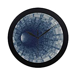 C COABALLA Outer Space Decor Circular Plastic Wall Clock,Endless Tunnel with Fractal Square Shaped Segment Digital Dimension Artwork for Home,9.65 D