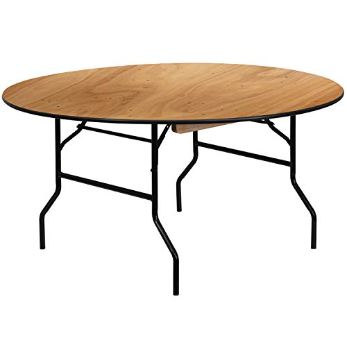 Flash Furniture 60'' Round Wood Folding Banquet Table with Clear Coated Finished Top ()