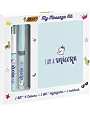 BIC My Message Kit Unicorn - Stationery Set with 1 BIC 4 Colours Ball Pen, 1 BIC Highlighter Grip Pastel Pen - Blue, 1 Blank Notebook A6 Size, Pack of 3