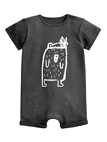 - stylesilove Baby Boy Cute Graphic Print Short-Sleeve Cotton Romper Onesie (80/6-12 Months, Grey Sloth Bear)