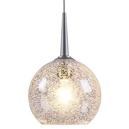 Bruck Lighting Bobo 1 - Low Voltage 4-inch Canopy Matte Chrome Pendant - Clear Bubble Glass Shade - Bobo One Light Pendant