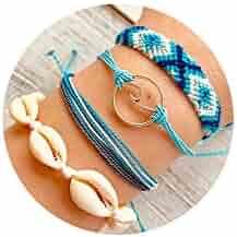 FINETOO Braided Wax Rope Wave Bracelet Set Handmade Waterproof Adjustable Wrap Bracelet for Women Kids
