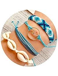 Braided Wax Rope Wave Bracelet Set Handmade Waterproof Adjustable Wrap Bracelet for Women Kids
