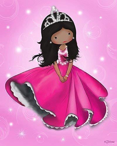 African American Princess Poster for the Nursery Kids Bedroom Wall Decor Pink Unframed 8x10 Art Print Children's Room Dark Skin Black Hair Girl]()