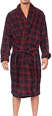 Wanted Men's Lounge Bathrobe Plush Micro Fleece with Front Poc