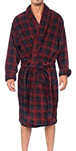 Wanted Men's Lounge Bathrobe Plush Micro Fleece with Front Pockets (Red Plaid, Large/X-Large)
