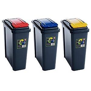 Wham 25l slimline home trash waste plastic recycling bin 3 piece set red blue yellow by wham - Slimline waste bin ...