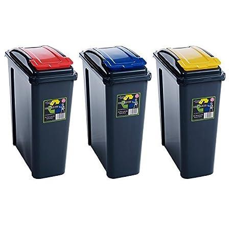 Wham 25L Slimline Home Trash Waste Plastic Recycling Bin 3 Piece Set ...